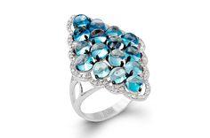 Zeghani's 14-karat white gold ring with blue topaz ($1,500)