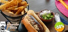 Pancho Villa Burgers - $59 en lugar de $118 por 1 Exquisita Salchicha Gourmet + 1 Orden de Papas Fritas Click http://cupocity.com