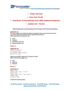 70-433 Exam Dumps with PDF and VCE Download (161-end)