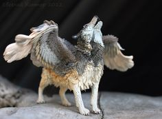 Hey, I found this really awesome Etsy listing at https://www.etsy.com/listing/187581403/winged-wolf-figurine-totem-skulpture-art