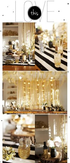 I love this theme for a New Years Eve party...black, gold and white. So classy. I WILL have an end of the year celebration like this one day...