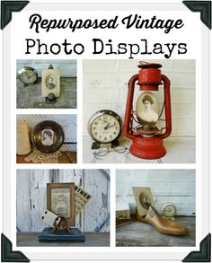 Turn Salvaged Vintage Items into Unique PHOTO DISPLAYS via Knick of Time @ http://knickoftimeinteriors.blogspot.com/