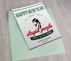 """New to DesignGenesStudio on Etsy: New Years greeting card April Ludgate """"Make fun of stupid people while we get drunk"""" card parks and rec printable 5x7 greeting card (5.00 USD)"""