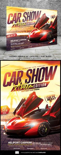 Car Show Flyer  Flyer Template Layout Design And Font Logo