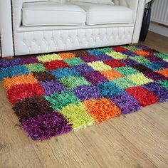 Create an explosion of color on your floors with Extravaganza Shaggy Rugs. Available in 3 sizes and 3 highly distinctive designs, these showpiece shaggy rugs are durable, colourfast, anti-shedding, stain resistant and easy to care for. Pom Pom Crafts, Yarn Crafts, Diy And Crafts, Diy Carpet, Rugs On Carpet, Cheap Carpet, Carpets, Shag Pile Rugs, Shaggy Rugs