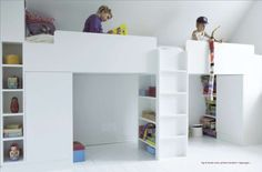 """Bunk beds and storage of a kindergarden  Excerpts from the book """"Inventive design 'by Julie Vöge, Politiken Press."""