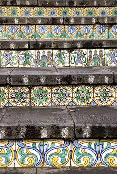 Tiles Caltagirone, Sicily, Italy - Staircase of Santa Maria del Monte Catania, Tile Art, Tiles, Tile Stairs, Tiled Staircase, Santa Maria, Sicily Italy, Stairway To Heaven, Stairways