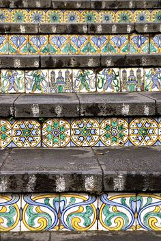 Tiles Caltagirone, Sicily, Italy - Staircase of Santa Maria del Monte Catania, Tile Stairs, Tiled Staircase, Santa Maria, Sicily Italy, Stairway To Heaven, Tile Art, Stairways, Textures Patterns