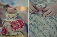 Stacked teacup centerpieces... perfect for a vintage wedding