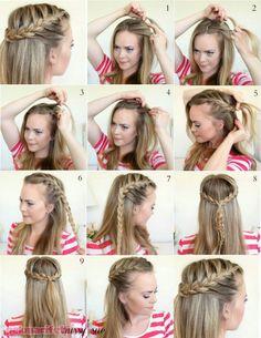 Illustrated narrative half herringbone hair that makes up frisuren Semi Formal Hairstyles, Half Braided Hairstyles, Easy Hairstyles, Cheer Hairstyles, Brown Hairstyles, Stylish Hairstyles, Medium Hair Styles, Curly Hair Styles, Short Styles