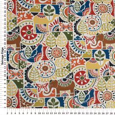 """Content: 100% Polyester Width: 54""""/55"""" Care Method: Wipe With Damp Cloth. Bolt Size Average: 12 Yards Repeats: 13.5"""" Horizontal Repeat, 25.25"""" Vertical Repeat Made in the USA"""