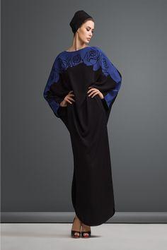 blue rose lasercut abaya