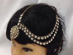 New Statement Jhumar Passa Head Piece Headchain Tikka Gold With Crystals | eBay