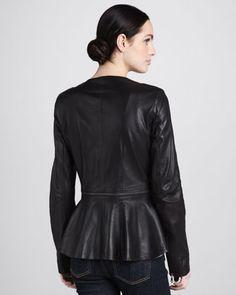La Marque Gina Leather Peplum Jacket
