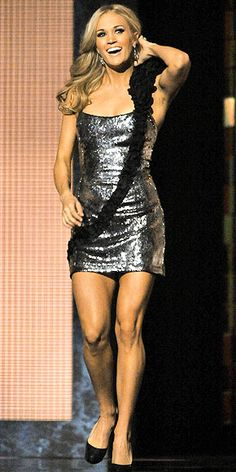 Carrie Underwood in a sequined Ina Soltani mini. Fabulously gorgeous