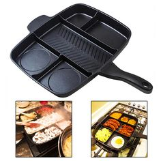 Prepare a meal using one pan and a single Multi-sectional design to cook five foods at once. Suitable for all surfaces. Cook faster, clean less, and enjoy great meals. Cook an entire meal in a single pan. Cuts down on washing up. Suitable for all surfaces. 5 separate sections to cook a variety of foods.