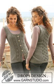 """Knitted DROPS sleeveless top with leaf pattern in """"Karisma"""". Size S - XXXL. ~ DROPS Design"""