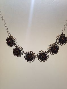 Bohemian Droplet, deep red Garnet and Sterling Silver Necklace with Antiqued  finish by NemesisNYC on Etsy