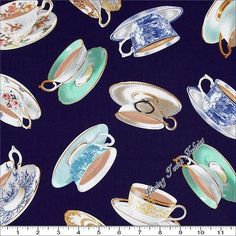 High Tea Cups and Saucers 06426-55  - $10.95 per yard - Quilting Fabric by Tea Time Quilting Shop Online!