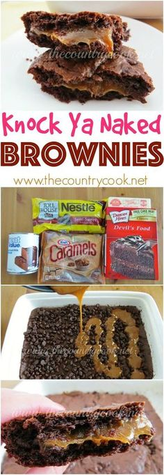 Knock Ya Naked Gooey Chocolate Caramel Brownies recipe from The Country Cook