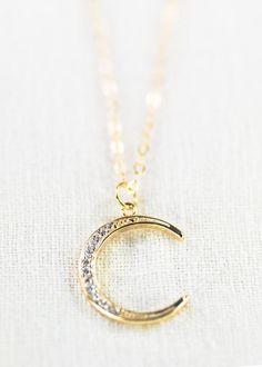 Ka Nui necklace - gold crescent moon necklace, gold cz necklace, pendant necklace, cz moon necklace, layering pendant necklace, maui, hawaii