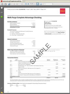 Sample Bank Statements Template New Bank Statement Template Wells Fargo Checking, Chase Bank Account, Wells Fargo Account, Id Card Template, Bill Template, Bank Statement, Financial Statement, Application Letters, Statement Template
