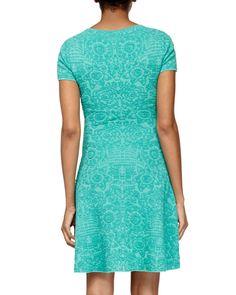 Short-Sleeve Mosaic Jacquard Flare Dress