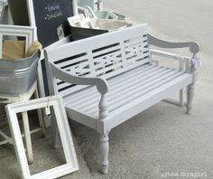 love a bench. love it more in a beautiful shade of gray.