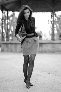 Tights + Skirt + Dark Top