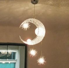 Moon & Star Children Kid Child Bedroom Pendant Lamp Chandelier Light Ceiling