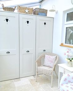 Morning #laundryroom #cottage #countryhome #hearts #heartcupboard #vintage