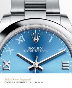Discover the Oyster Perpetual 31 watch in Oystersteel on the Official Rolex Website. Ladies Watches, Watches For Men, Rolex Blue, Rolex Women, Must Have Gadgets, Fashion Ideas, Women's Fashion, Watches Photography, Expensive Watches