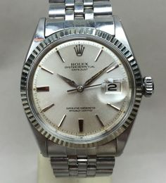 1964 Vintage Rolex Datejust Pie-Pan Un-Polished Matching date code Band 18k W bezel..for sale