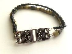 Bracelet Sterling Silver and Beaded Yellow Turquoise and Black Seed Beads B41 by Libbyscorner on Etsy