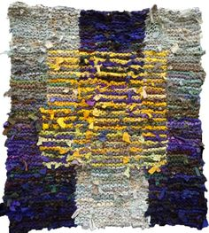 Floating Gold Square, shown in Chapter 4 of Knitting Fabric Rugs.