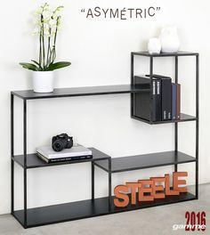 Iron Furniture, Steel Furniture, Table Furniture, Modern Furniture, Furniture Design, Console Metal, Metal Bookcase, Dressing Design, Industrial Furniture