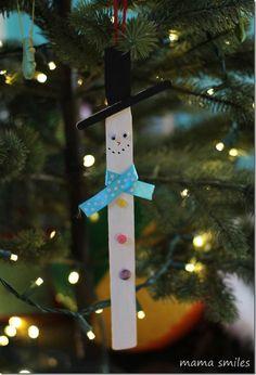 Snowman Popsicle-Sticks Craft.