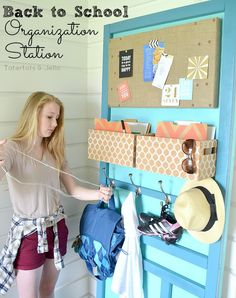 Love this Back to School Organization Station to stay organized during the school year!