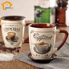 Caneca de porcelana pintados à mão cerâmica xícara de café criativo, De de, Cappuccino, Mocha, Leite colher cinto disco xícara de café em Canecas de Home & Garden no AliExpress.com   Alibaba Group