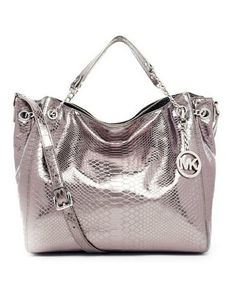 Michael Michael Kors Jet Set Chain Python-embossed Shoulder Tote Gunmetal. Some less than $100 OMG! Holy cow, I am gonna love this site!