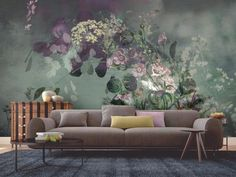 """Where the Wildflowers Are""  stunning floral wallpaper mural by www.backtothewall.co.nz    Thinking of a feature wall?why not think of a mural wallpaper for your bedroom living room or dining room. This is a high quality wallpaper which is easy to install and remove and is customised to fit your wall"