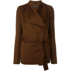 Joseph Belted Wrap Jacket ($991) ❤ liked on Polyvore featuring outerwear, jackets, brown, joseph jacket, brown jacket, wrap jacket, belted jacket and belted wrap jacket