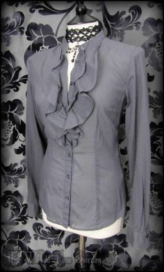 Victorian Goth Grey Stripe Ruffle High Collar Governess Blouse 10 12 Steampunk | THE WILTED ROSE GARDEN on eBay // Worldwide Shipping Available