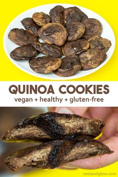 Vegan quinoa cookies that are healthy with chocolate chips and no flour. Vegan quinoa cookies that are healthy with chocolate chips and no flour. Quinoa Cookies, Healthy Cookies, Healthy Treats, Cookies Vegan, Vegan Muffins, Healthy Cake, Healthy Foods, Yummy Treats, Gluten Free Baking