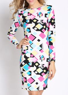 Enchanting Print Design Long Sleeve Round Neck Dress