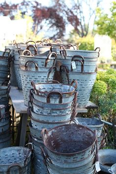 this photo was taken by my friend Maria.  I love these metal buckets - I'm hoping to pick up more soon!