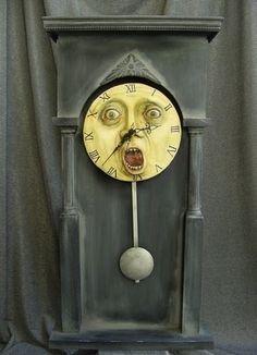 Screaming Grandfather clockface