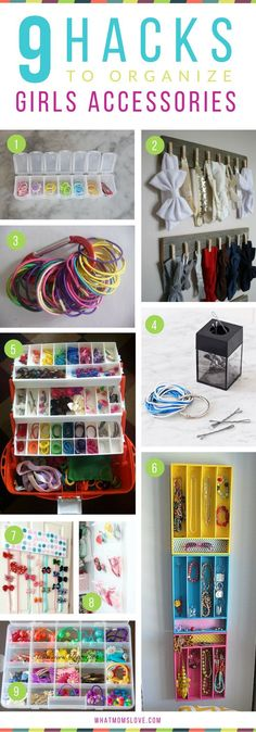 How to organize girls hair accessories, bows, elastics Hacks, Tips and Tricks for Organized, Stress-Free Mornings with kids Organisation Hacks, Kids Room Organization, Clothing Organization, Storage Hacks, Storage Ideas, Hair Bow Organization, Organizing Ideas, Organizing Hair Accessories, Girls Hair Accessories