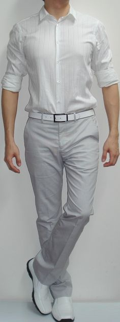This Men's Outfit - White Shirt, White Shoes, White Pants, White Belt - Will Put You in Style!