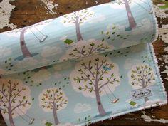 Baby Boy Chenille Baby Blanket - Backyard Baby Windy Day - Blue Baby Blanket - Trees. $42.00, via Etsy.